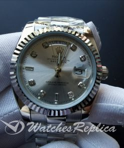 Rolex Day-date 128239 Diamond Dial With Silver And Stainless Steel 36mm For Men Watch