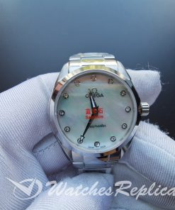 Omega Seamaster O22010286055001 28 Mm Solid Stainless Steel And Mother Of Pearl For Women Watch