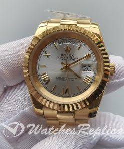 Rolex Day-Date 218238 41mm 18K Yellow Gold Silver Dial For men Watch