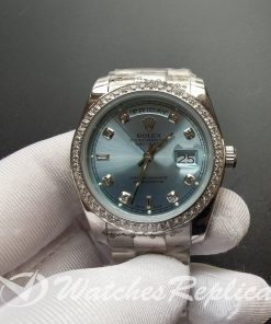 Rolex Day-date 118346 Ice Blue Dial Stainless Steel 36mm For Men Watch