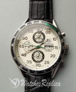 Tag Heuer Carrera 44mm Pr1146 Black Leather And White Dial For Men Watch