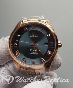 Omega De Ville Hour Vision Rose Gold Steel Green Dial 41mm For Men Watch
