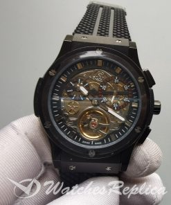Hublot Limitierte Textured Black And Rubber Metal Dial And 45mm For Men Watch