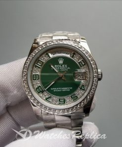 Rolex Day-date 118346 Steel With Diamonds Green Dial 36mm For Women Watch
