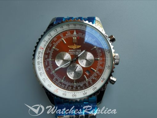 Breitling Navitimer A-7750 42mm Solid 316f Stainless Steel Red Dial For Men Watch