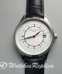 Patek Philippe Calatrava 5296g 38mm White Gold Leather And Silver Dial For Men Watch